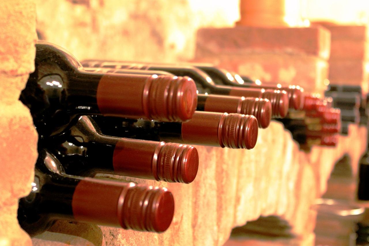 wine labels bottles in storage